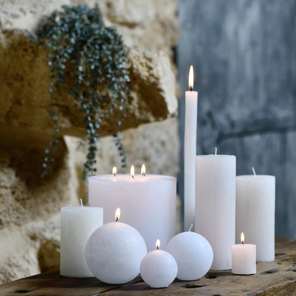 Bougie votive coloris blanc ventoux H4,5cm-BEJAIA