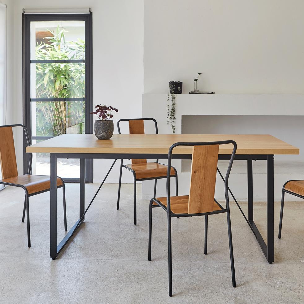 Table repas rectangulaire effet chêne - 6 places-VANILLE