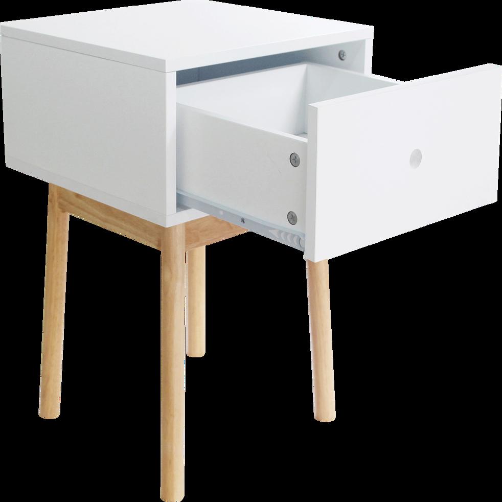 Table de chevet structure en hévéa massif blanche 1 tiroir-GRAPHIC