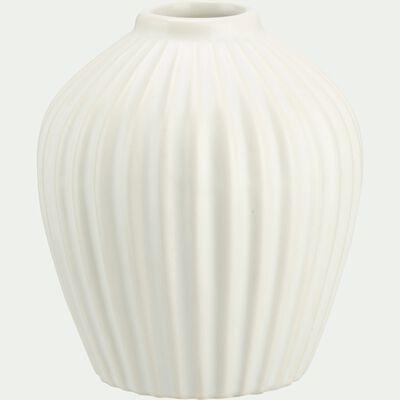 Vase strié en grès - blanc H12cm-Delos