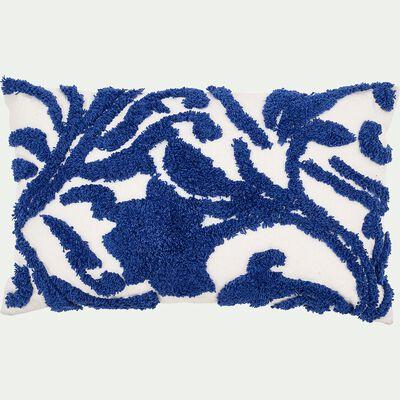 Coussin brodé en relief - bleu 30x50cm-BRAGA