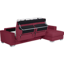 Canapé d'angle réversible convertible en cuir de buffle rouge-Mauro