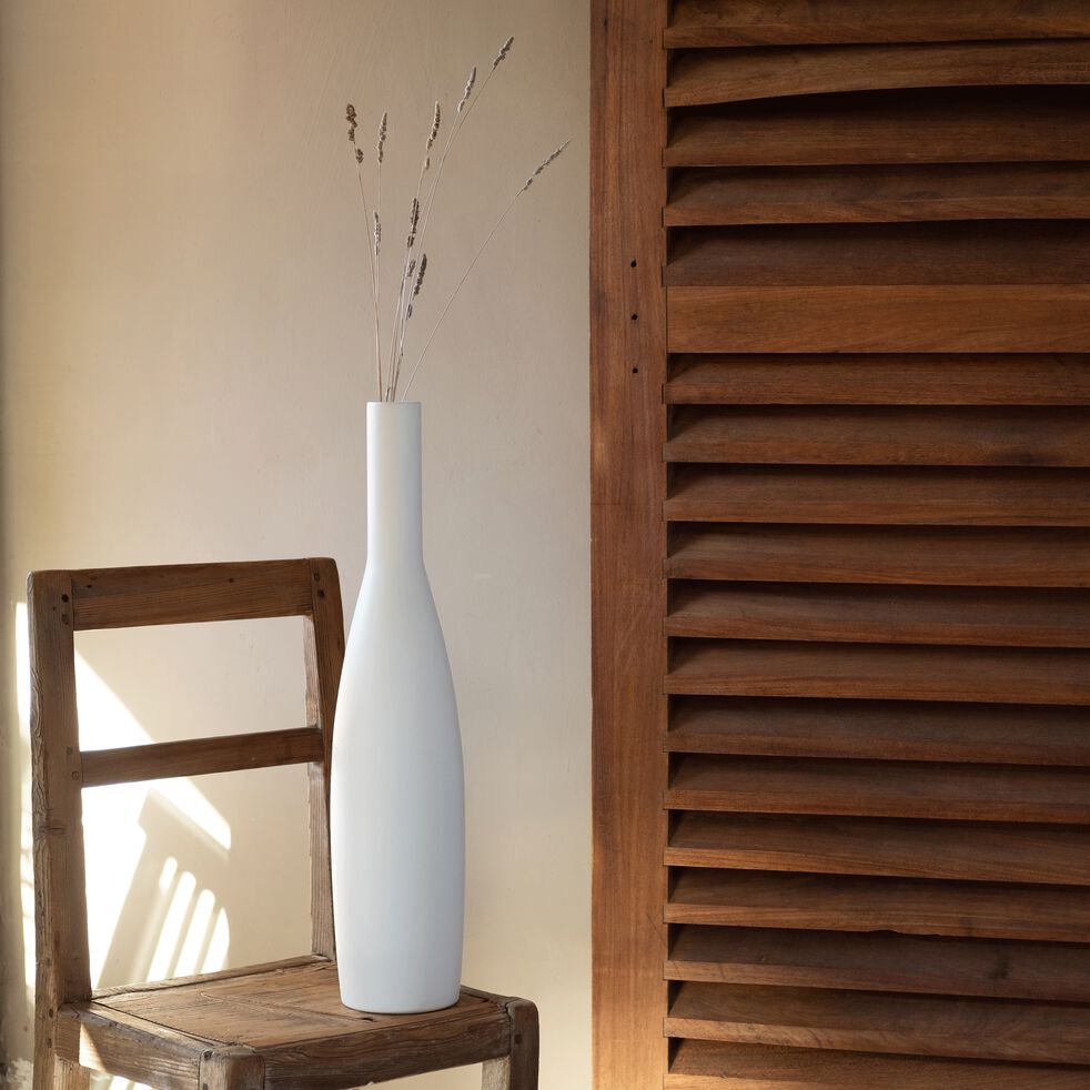 Vase en céramique blanc ventoux H57cm-DOLIA