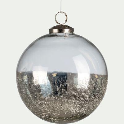 Boule de Noël en verre argenté D12,5cm-BREMONT