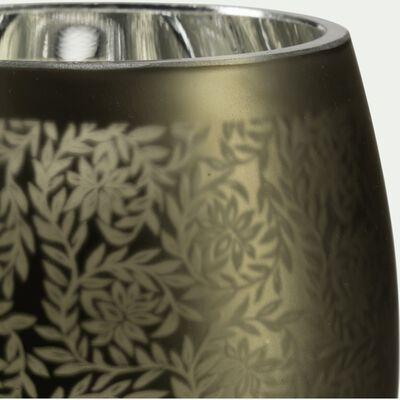 Vase en verre vert H12cm-LEMNOS