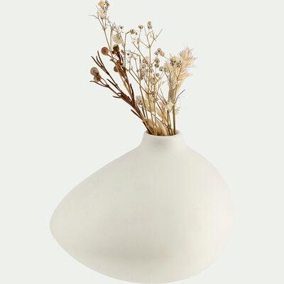 Vase asymétrique en grès - blanc H8,5cm-BEL