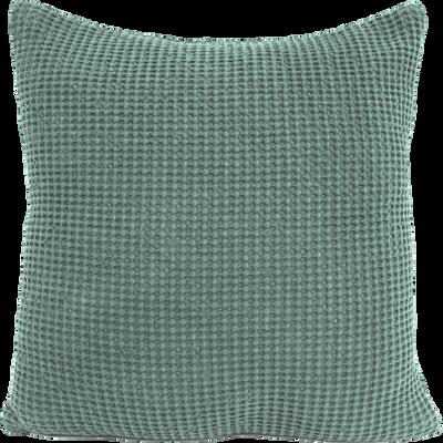 Coussin en coton vert effet nid d'abeille 45x45cm-HONEY