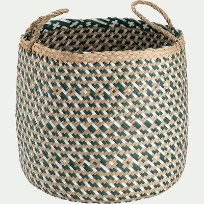 Panier tressé en jonc de mer et papier - vert D30xH30cm-Lola