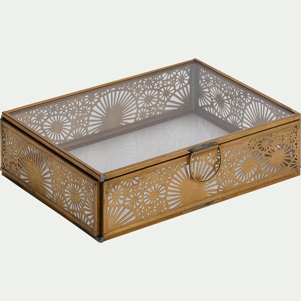 Boîte décorative en cuivre ouvragé et verre - doré L17,5xl13xH5cm-DUNGARPUR