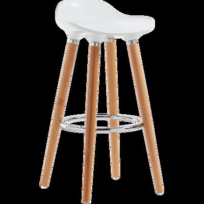 Tabouret de bar avec pieds en hêtre massif blanc-JADE