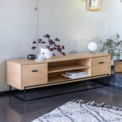 Meuble TV en acier et placage chêne-CESARINE