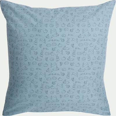 Housse de couette enfant motifs lapins 140x200cm et 1 taie 63x63cm - bleu-Bestiaire