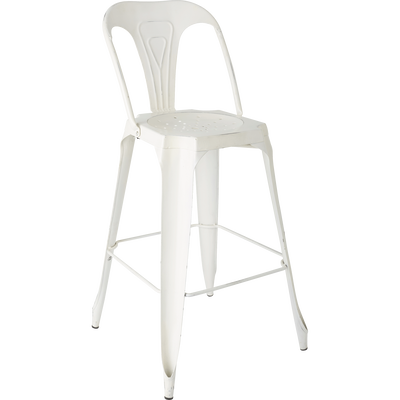 Chaise de bar vintage en métal blanche - H106cm-INDUS