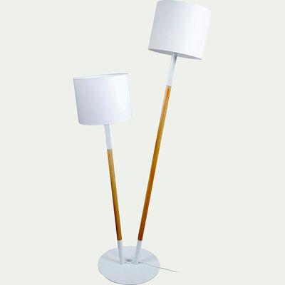Lampadaire en bois et coton - blanc H160cm-Tandem
