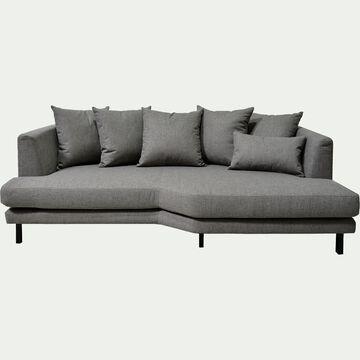 Canapé 3 places fixe droit en tissu gris restanque-TESSOUN