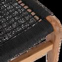 Fauteuil et repose pied en eucalyptus noir-GAOU