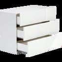 Commode blanc laqué 3 tiroirs-DELIA