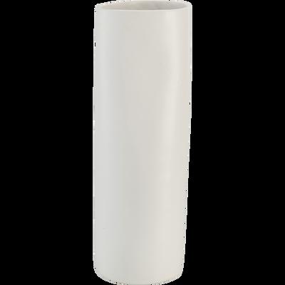 Vase en grès Blanc H31,5 cm-BOUKHARA