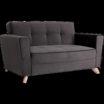Canapé 2 places fixe en velours gris-VICKY
