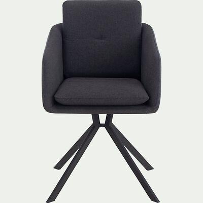 Chaise pivotante avec accoudoirs en tissu - noir-CAMARGUE