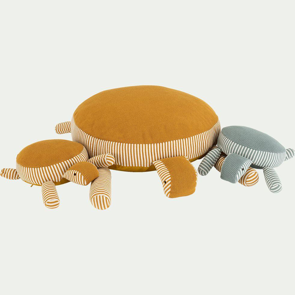 Peluche tortue pm rayée en coton bio - jaune moutarde-Moena