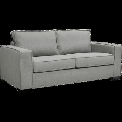 Canapé 2 places convertible en tissu gris et matelas BULTEX 12cm-CALIFORNIA