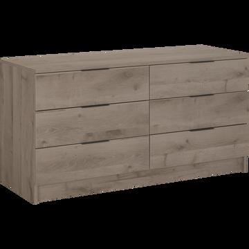 Commode 2x3 tiroirs finition chêne cendré-BROOKLYN