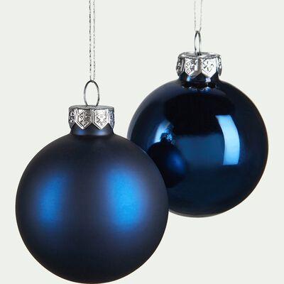 Boules en verre bleu 10 pièces D6cm-brochard