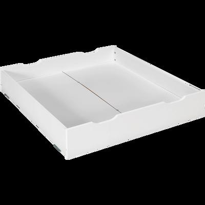 Tiroir de lit à roulettes en dérivés de bois Blanc-NUAGE