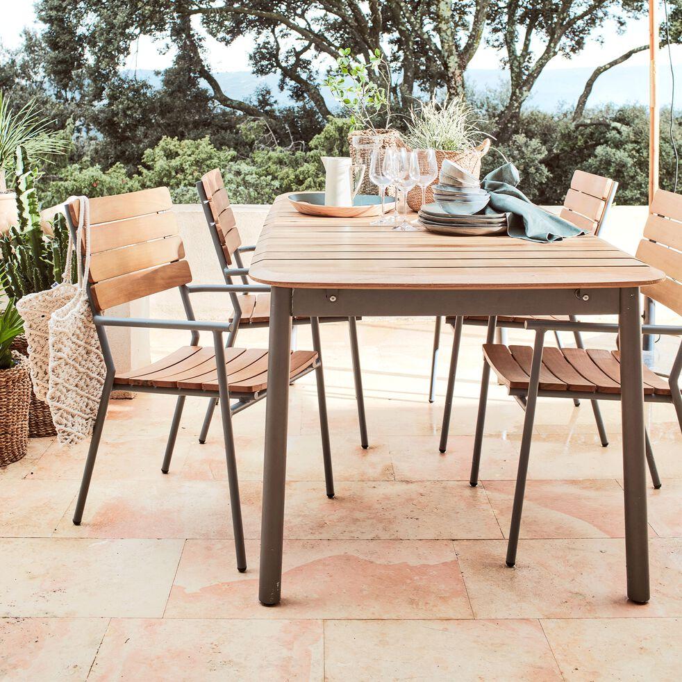 Ensemble table (8 à 12 places) et chaise de jardin en eucalyptus et métal-RAMATUELLE