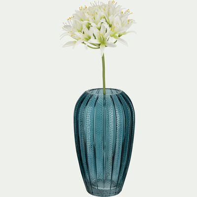 Vase en verre piqué - bleu niolon H20,5cm-Dokoy