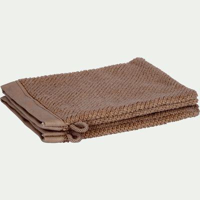 Gant de toilette bouclette en coton bio - brun châtaignier-COLINE