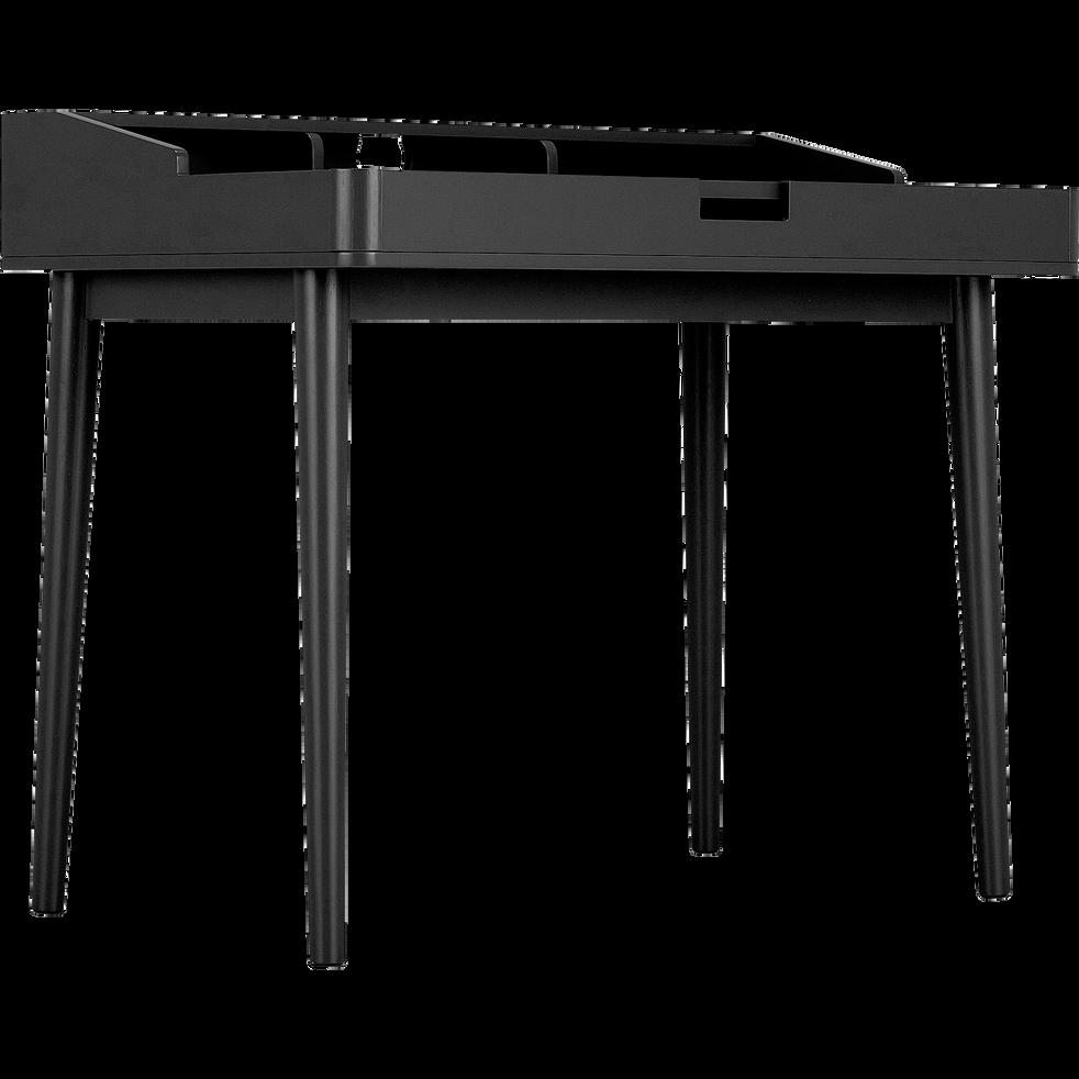 Bureau laqué noir avec plateau ouvrant L100cm-RIMA