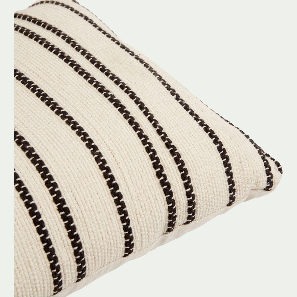 Coussin à rayures brodées en coton - noir et écru 30x50cm-BADIANE