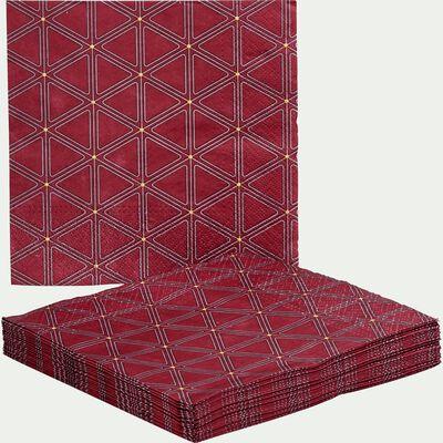 Lot de 20 serviettes en papier rouge décoré 33x33cm-OPERA
