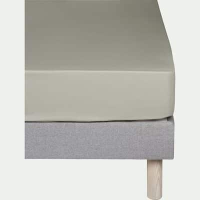 Drap housse en coton Vert olivier 160x200cm-bonnet 25cm-CALANQUES