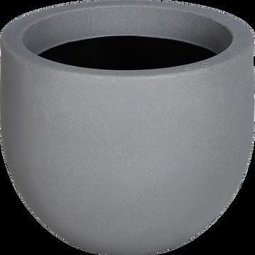 Cache-pot gris en plastique H34xD47cm-ALLURE