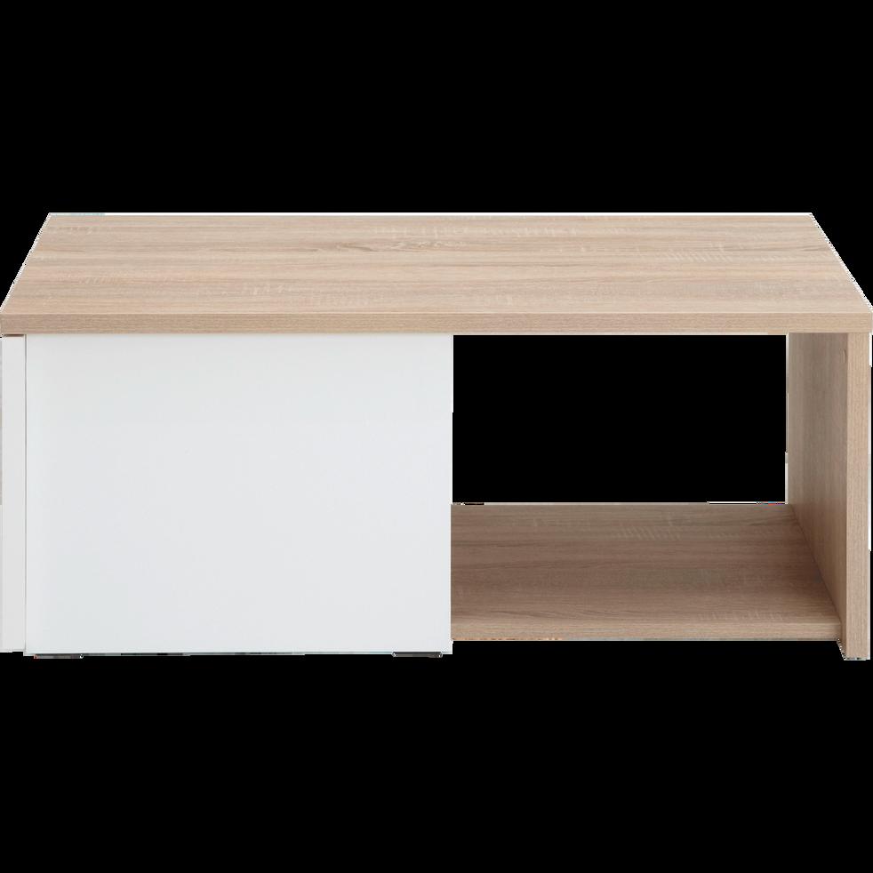 Table Basse Coloris Blanc Et Chene Clair 1 Tiroir Checker Tables
