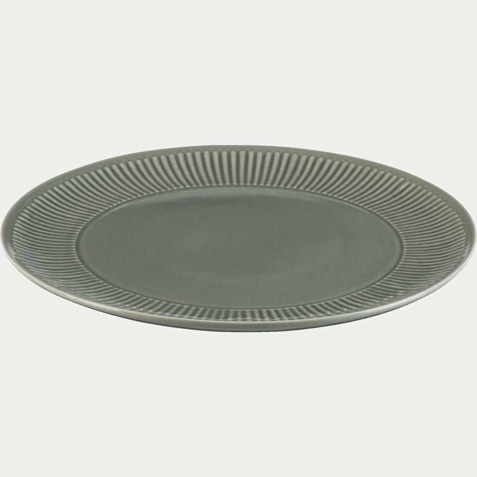 Assiette plate en faïence D27cm - vert olivier-MORA