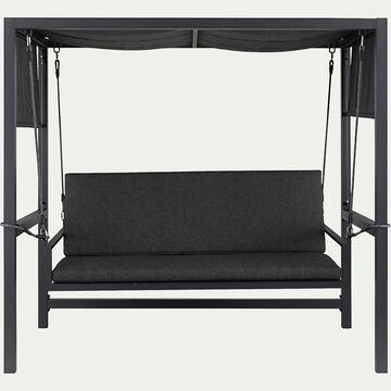 Balancelle de jardin en aluminium - noir (3places)-BALO