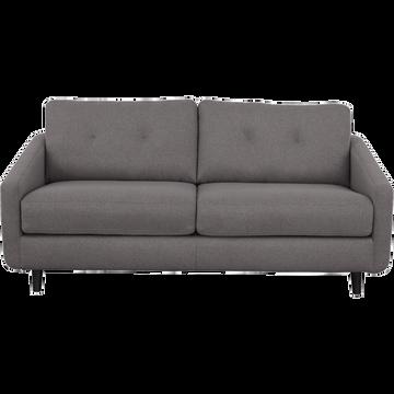 Canapé 3 places convertible en tissu gris restanque-VALENT