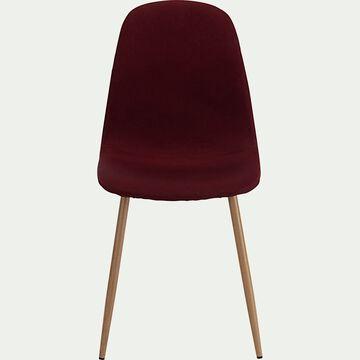 Chaise en acier impression bois et tissu - rouge sumac-LOANA
