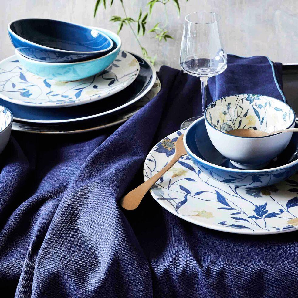 Gamme de linge de table en lin et coton bleu myrte-MILA