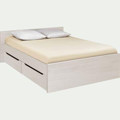 Lit 2 places avec tête de lit & tiroirs cerisier blanchi - Plusieurs tailles-BROOKLYN