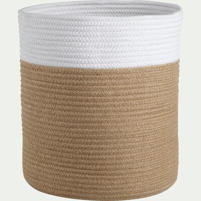Panier de rangement blanc et beige D30xH30cm (petit modèle)-DAYO