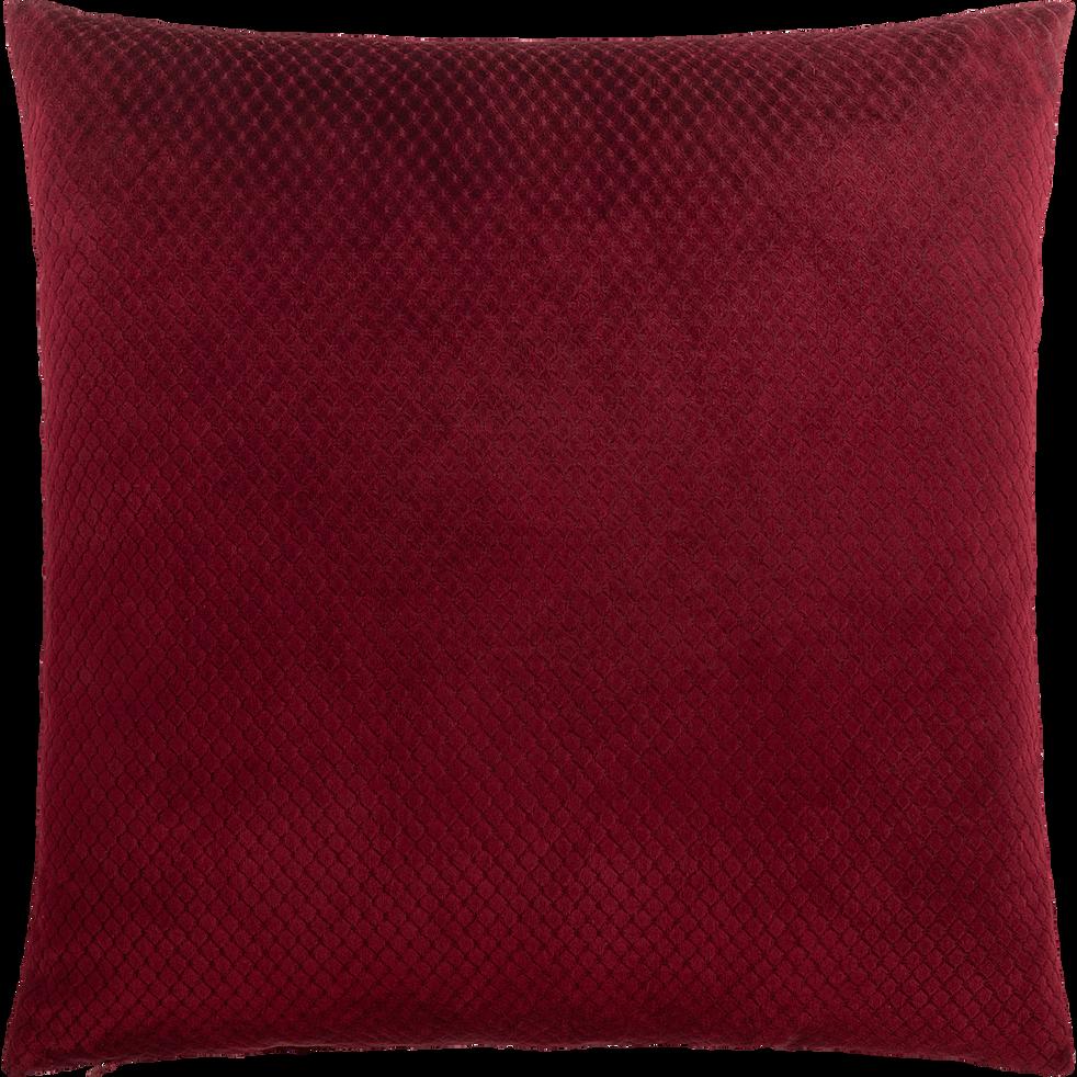 Coussin à carreaux en polyester rouge 45x45cm-ADRIEN