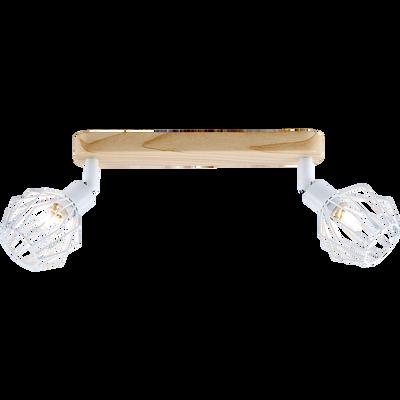 Plafonnier de 2 spots en métal filaire blanc et décor bois-NORIS