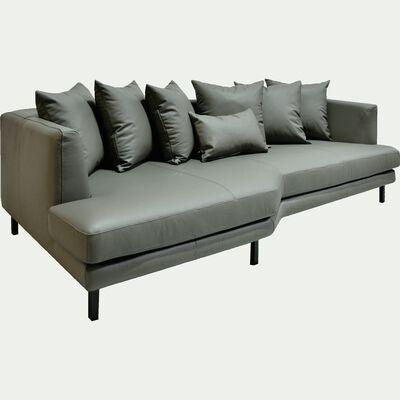 Canapé 5 places fixe gauche en cuir gris restanque-TESSOUN