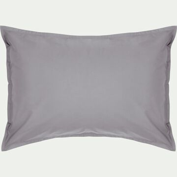 Lot de 2 taies d'oreiller en percale de coton - gris restanque 50x70cm-FLORE