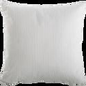 Coussin carré 40x40cm rayures blanc et bleu pour enfant-SACHA